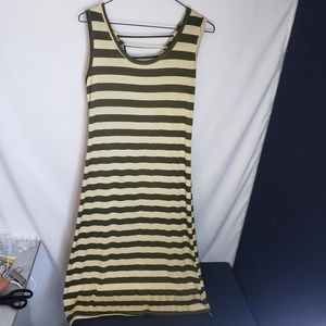 Green and beige striped dress open strappy back M